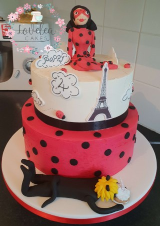 2 tier LadyBug and Cat Noir cake