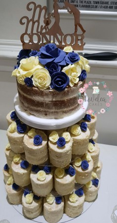 4 tier Mini Cakes Naked Wedding cake