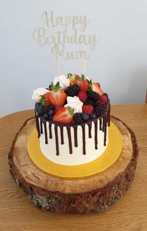 Vanilla & Berry Drip Cake