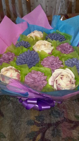 Eggless Cake bouquet - Rose, Pineapple + coconut  and vanilla flavour