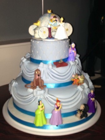 2 Tier  Princess Cake- 2 Figures, Glass slipper+ plastic carriage