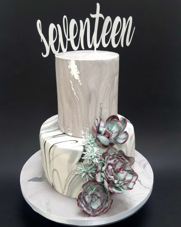 Marble and succulent celebration cake.