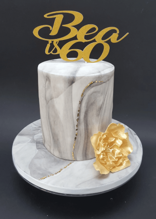 Marble and gold leaf cake
