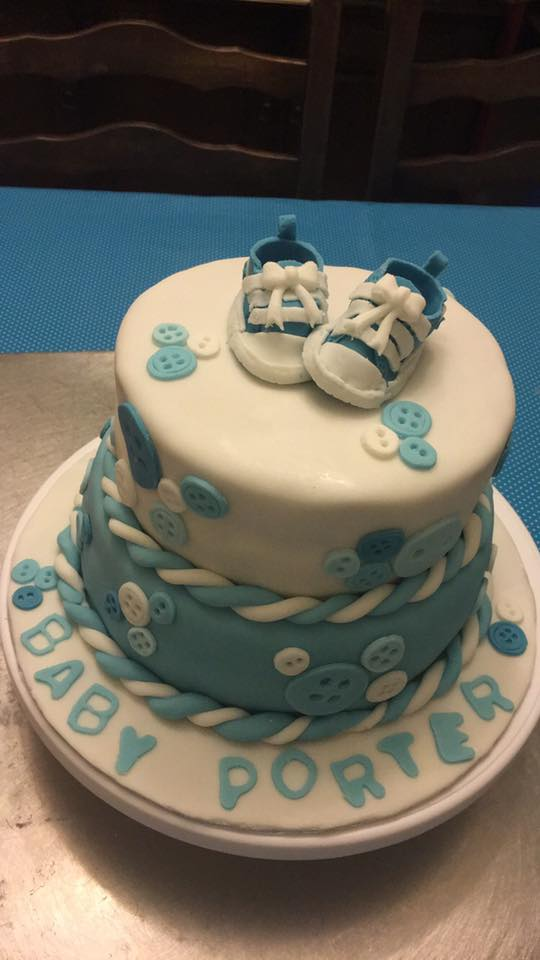 Baby Shower Cake with Handmade Fondant Converse