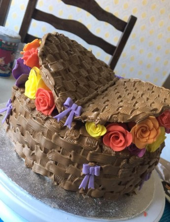 Basket Cake with Handmade Roses