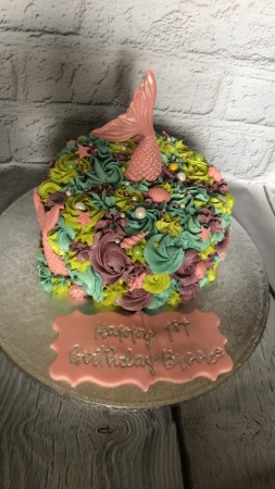 Excellent Mermaid Cake With Starfish Tail And Glitter And Starfish Personalised Birthday Cards Akebfashionlily Jamesorg