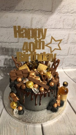 Marvelous Black Gold Chocolate Cake With Alcohol Minatures Francescas Funny Birthday Cards Online Necthendildamsfinfo