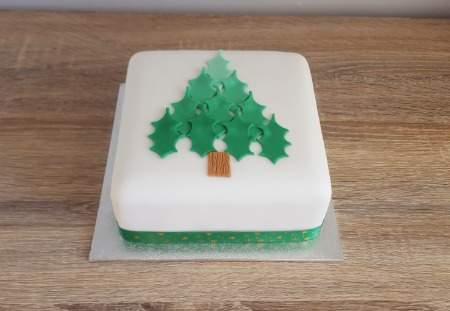 Green Christmas Tree Cake