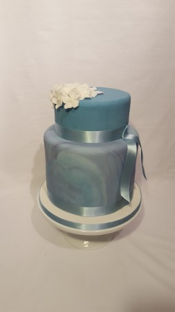 Blue marbled 2-tier wedding cake