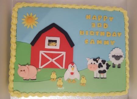 Farmyard sheet cake