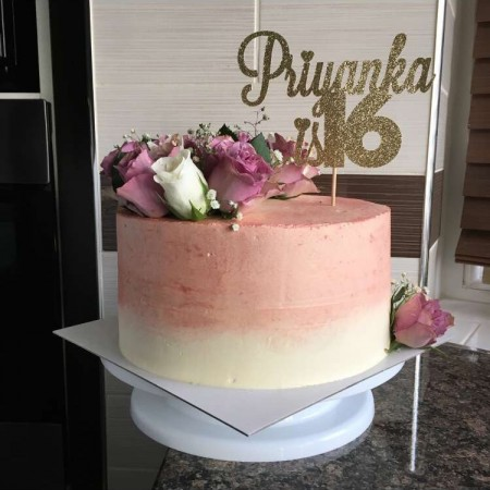 Rose Gold Floral Cake- with topper
