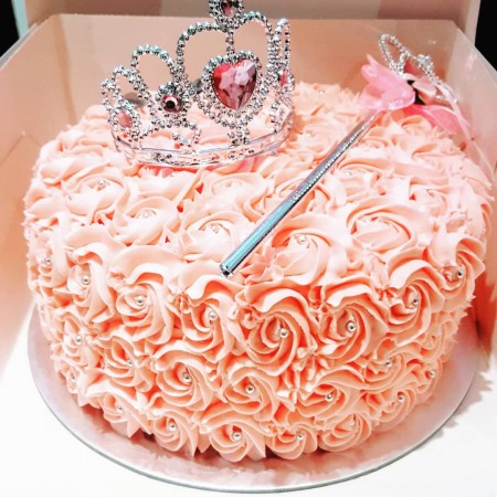 Pink Princess Cake with Tiara & Wand