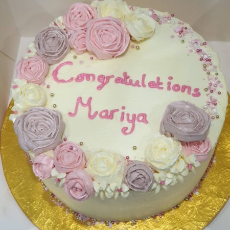 Personalised Buttercream Flower Bouquet Cake