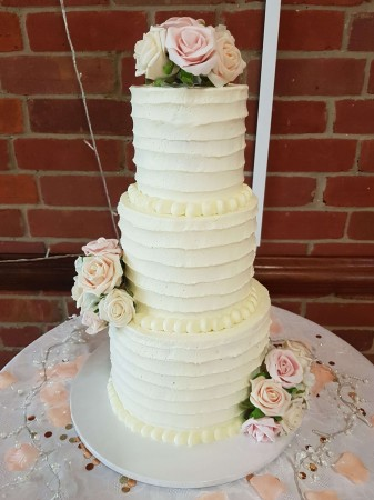 Rustic Wedding Cake with Faux Roses