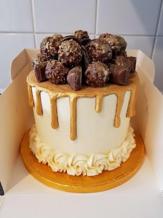 Ferrero Rocher, Kinder Bueno and Oreo Gold Drip Cake