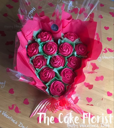 Valentines Heart Cupcake Bouquet