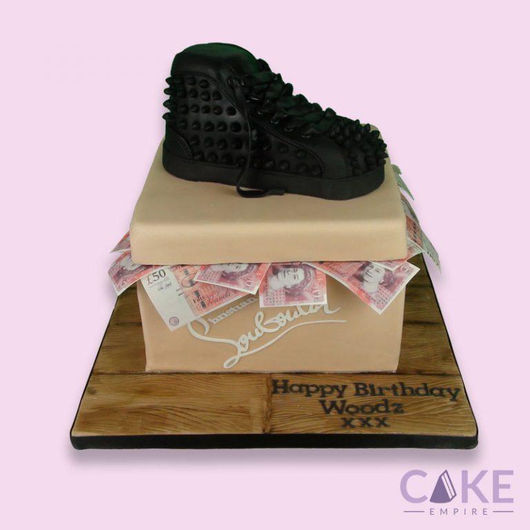 Louboutin shoe and box cake