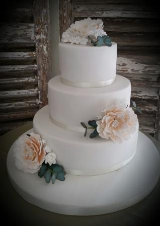 ref: 20083 Peonies Wedding Cake