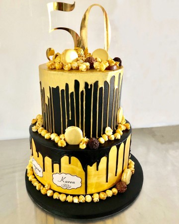 2 tier  chocolate drip cake '50' topper Gold + Black decorations + plaque of names