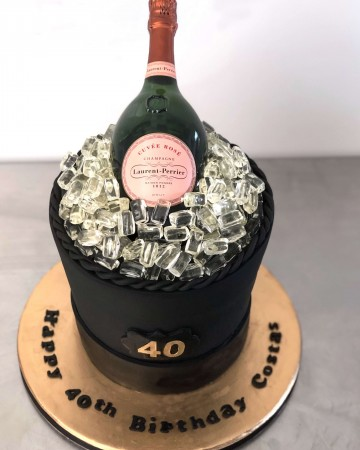 3d erect champagne bottle and 50 cupcakes