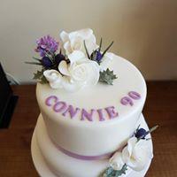 2 tier floral celebration cake