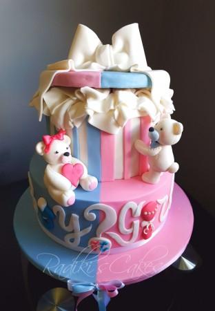 Teddy Bears Baby reveal cake