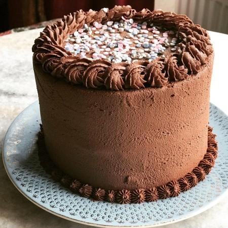 Simple chocolate cake with sprinkles