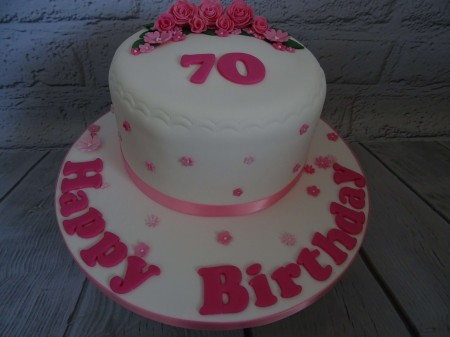 70th pink floral birthday cake