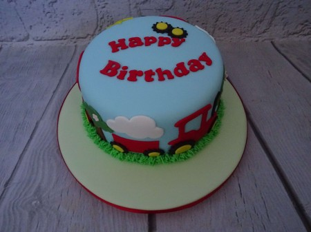 Cute tractor themed children's cake