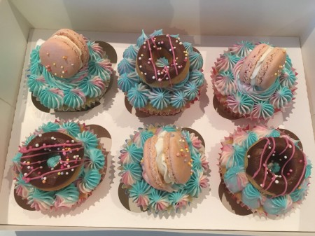 Cupcakes with doughnuts and macarons