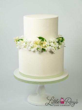 2 Tier Assorted White Floral Cake