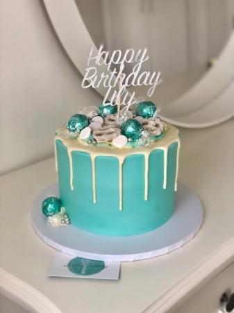 Fabulous Tiffany Blue Drip Cake Els Cakery Personalised Birthday Cards Veneteletsinfo