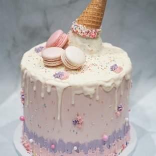 Upside down ice cream cone cake