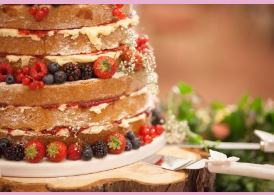 Wedding cake showing layers of sponge and fruit