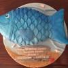 birthday cake in shape of blue fish