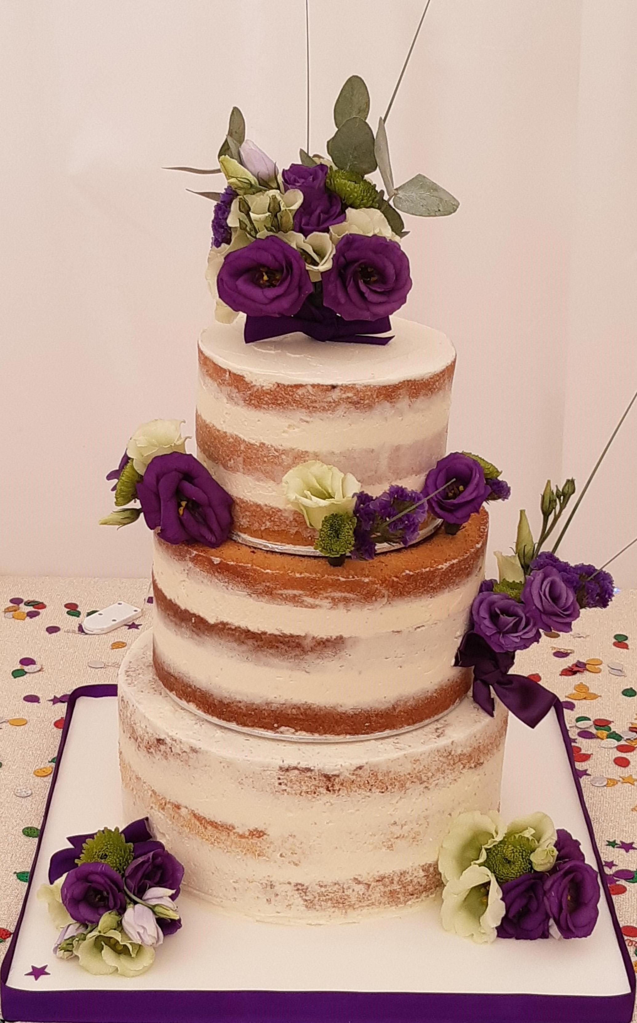 wedding cake - 3 tiers of naked wedding cake