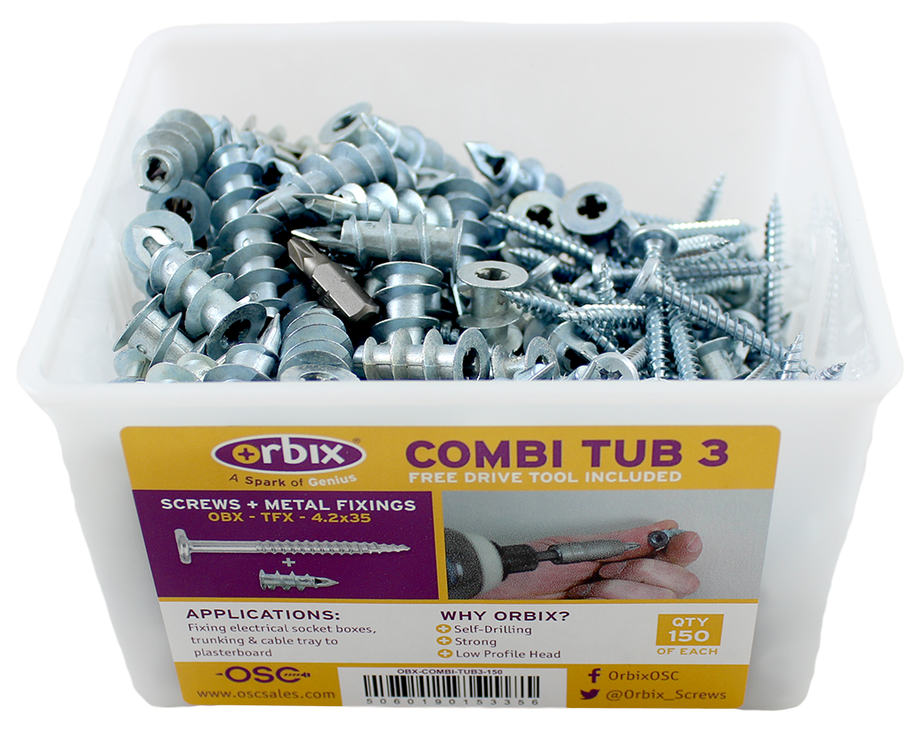 Combi Tub with Plasterboard Fixings + Screws (OBX-COMBI-TUB3-150)