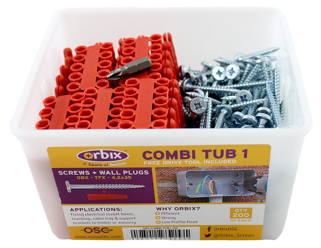 Combi Tub with Wallplugs + Screws (OBX-COMBI-TUB1-200)