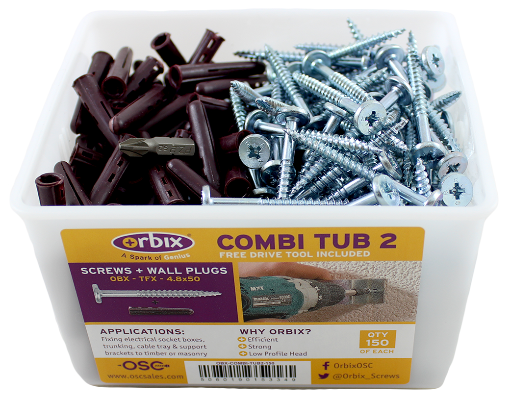 Combi Tub with Wallplugs + Screws (OBX-COMBI-TUB2)