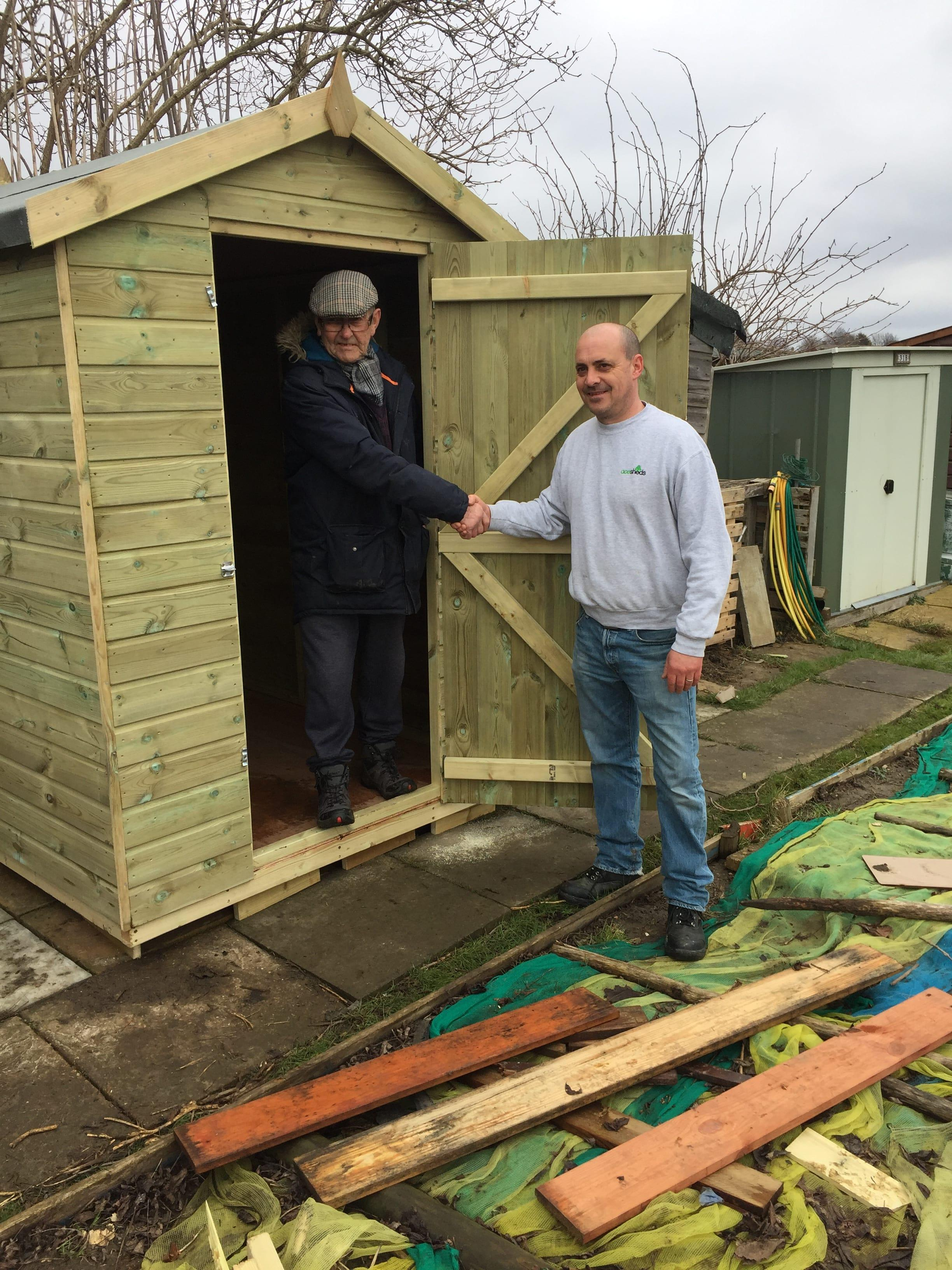 Ace Sheds donate a brand new shed to a 76-year-old man who had his stolen from his allotment