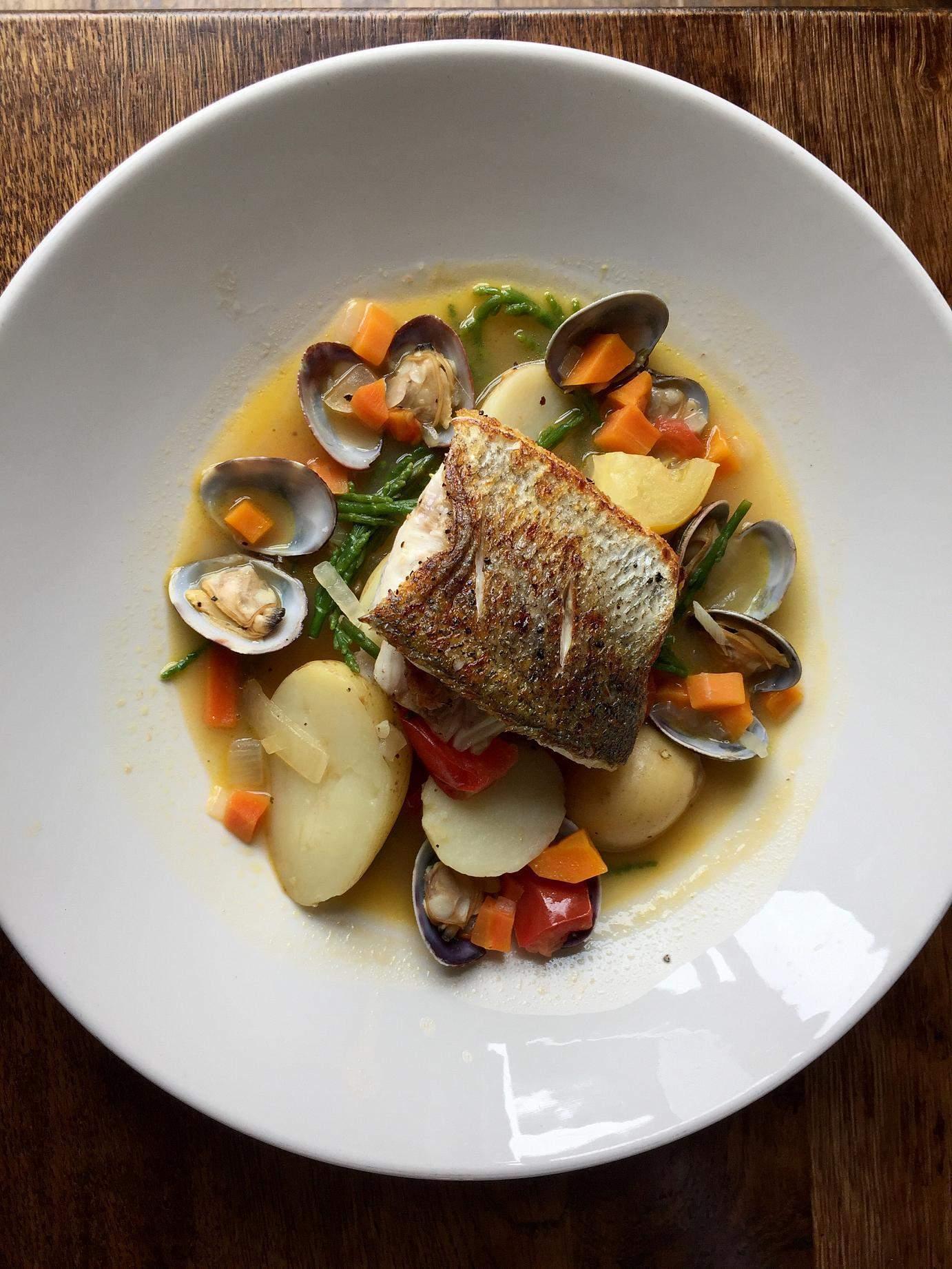 Sea bass dish