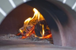 Wood burning in pizza oven