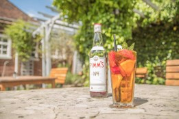 Pimms bottle & glass