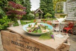 Salad and white wine