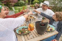 Customers enjoying food and drink
